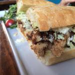 karaage chicken sandwich close up