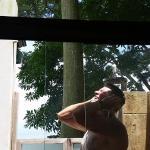 Outdoor shower in the Ocean View Balcony Deluxe room