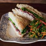 Ciabatta sandwich and kale salad