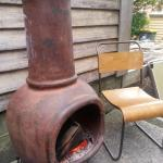 This outdoor kiln style outdoor heater is great to warm up on cold afternoons when indoor area f
