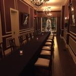 One dining room set up for a large private event (trap door in this room)