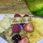 Creme Brulee, fresh berries and a special birthday greeting
