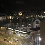 View of Lucerne and the lake at night.