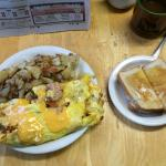 Denver omelet with sourdough toast and coffee