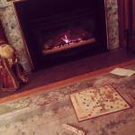 Scrabble by the fire in Living room