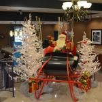 Lobby of the Hampton Inn at Christmas