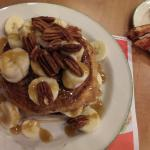 Waffle with nuts and syrup