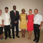 The Governor and First Lady of Sint Maarten flanked by owners Elaine & Chris Jego and staff