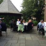A courtyard dinner event