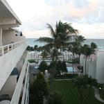 A pic from our balcony overlooking hotel courtyard, pool and beachfront.