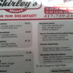 The breakfast menu both sides .the short stack . The medium breakfast . The lunch menu