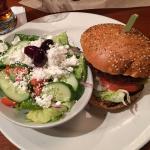 Turtle Jack's Basic Burger with Greek Salad