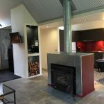 Fireplace and Kitchen area