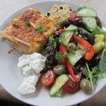 Smoked salmon quiche and salad