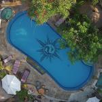 air drone photo of pool