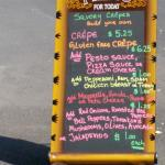 Combos and prices for savory crepes