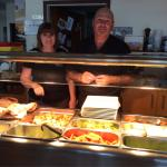 Sunday Carvery with owners Steph and Steve. Two of the many puddings on offer, cheesecake and rh