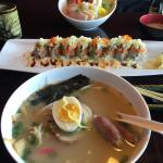 Ramen lunch special, koto roll, Chirash with hot tea
