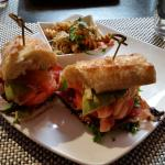 House Cured Salmon and Avocado B.L.T. sandwich.w/ pasta salad.