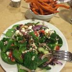 """Small Greek Salad and sweet potato fries"""