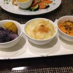 Roasted Cauliflower, Mac N' Goat's Cheese, Whipped Sweet Potatoes