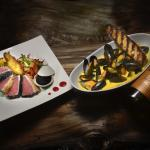 Seared Yellow tail and mussels in Saffron-white wine sauce