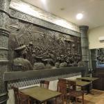 Wall scrupture Shivaji maharaj having sabha