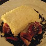 Parmesan cheesecake with glazed balsamic strawberry