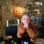 My Grandson waiting for his hot chocolate to cool.