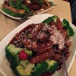 Sesame Chicken & Beef with Snow Peas