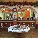 Christmas decorations in the lobby.