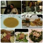 soup, calamari, platter, ceasar salad, arugula salad