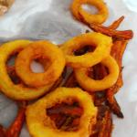 huge sweet potato fries and huge onion rings
