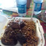 Pilau, stew goat and stew beef with okra