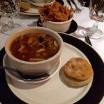 Hot and sour soup, crispy wontons and scallion pancake