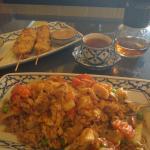 chicken satay, hot thai tea, pineapple fried rice
