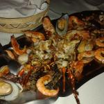 Full plate of seafood. Superb!!