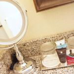 Guest bathroom amenities at the Crowne Plaza Lansing West