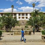 the parliament of Namibia, in front of the church