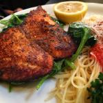 Blackened salmon with angel hair pasta