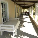 View of the room veranda. Bed and bath tub