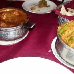 Sherlaton Mutton curry and vegetable biryani