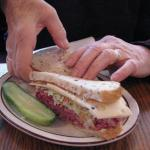 corned beef, pastrami and swiss on rye, with cole slaw