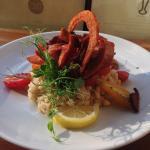 Bacon tomatoe seafood risotto