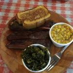 Ribs with corn and collared greens.