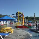 The pool area geared towards families