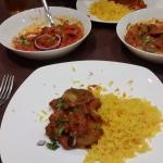 Spicy duck, pilau rice and murgh massala