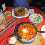 Coconut Shrimp and Vegetarian Molcajete