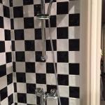 El baño. Debajo de las manecillas de la ducha, los azulejos rotos.