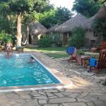 parc extérieur et piscine